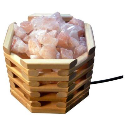 Соляная лампа Октагон Светлый 3,5 кг с камнями из гималайской соли