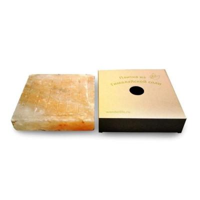 Соляная плитка для жарки с бордюром и канавками, 4х20x20 см, гималайская соль, картонная коробка
